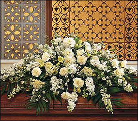 Pure White Casket Spray from Ashland Florist in Lexington, KY
