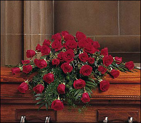 Blooming Red Roses Casket Spray from Ashland Florist in Lexington, KY